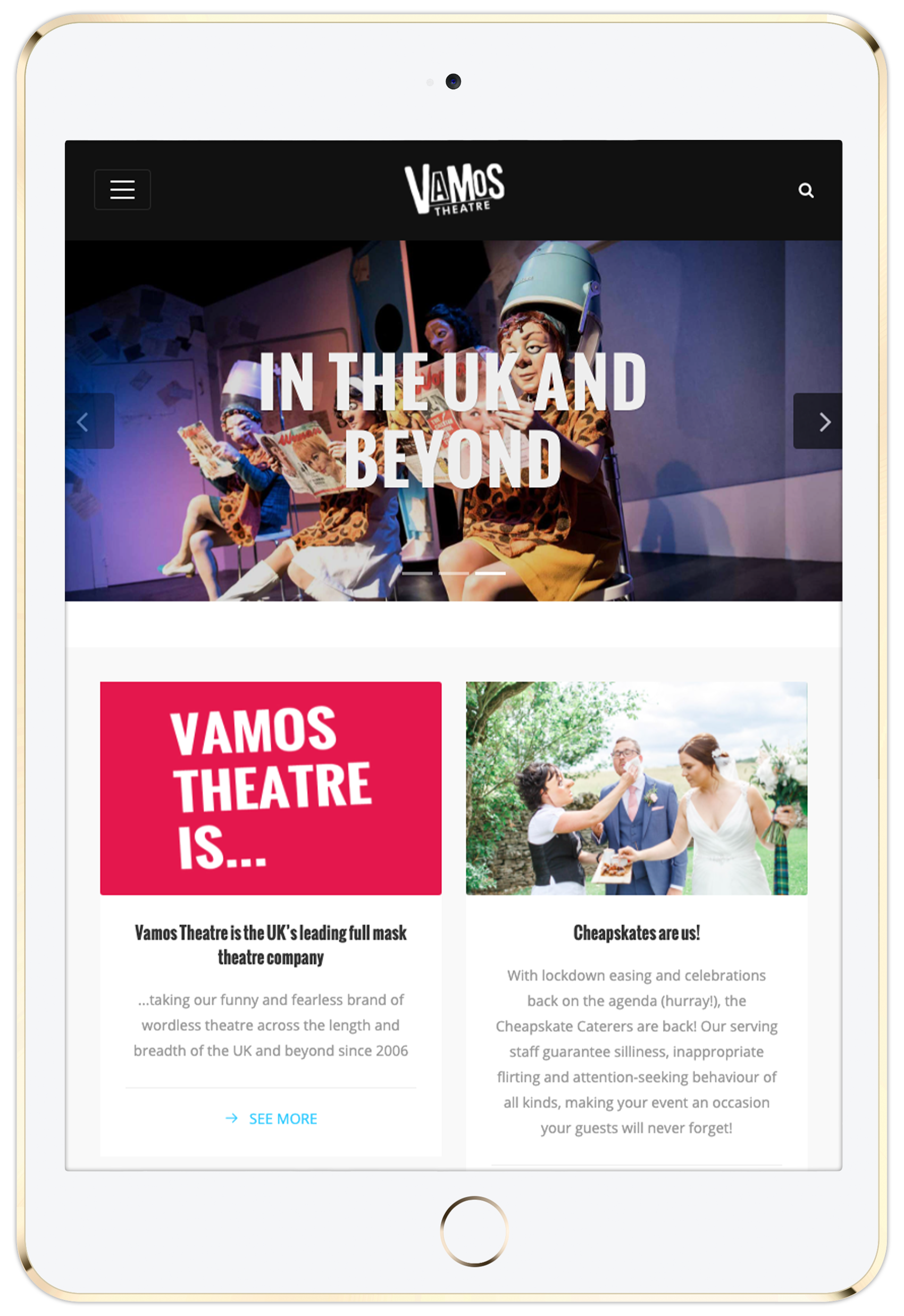Vamos Theatre home page on tablet