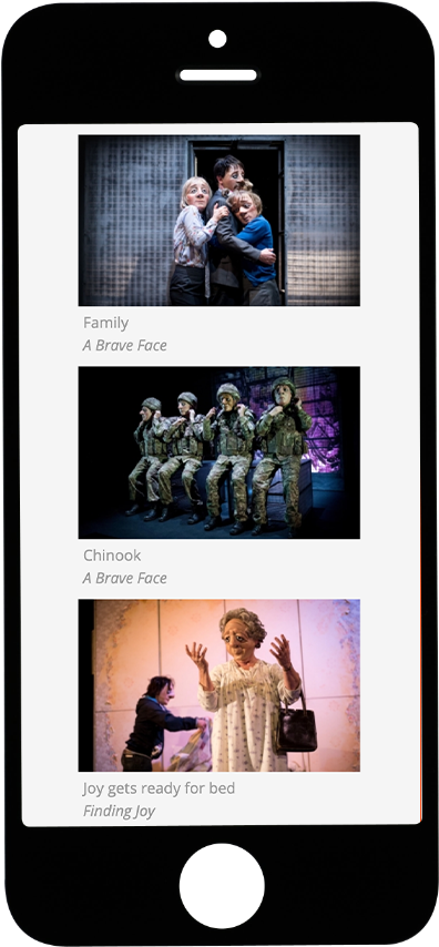Vamos Theatre shows page on tablet