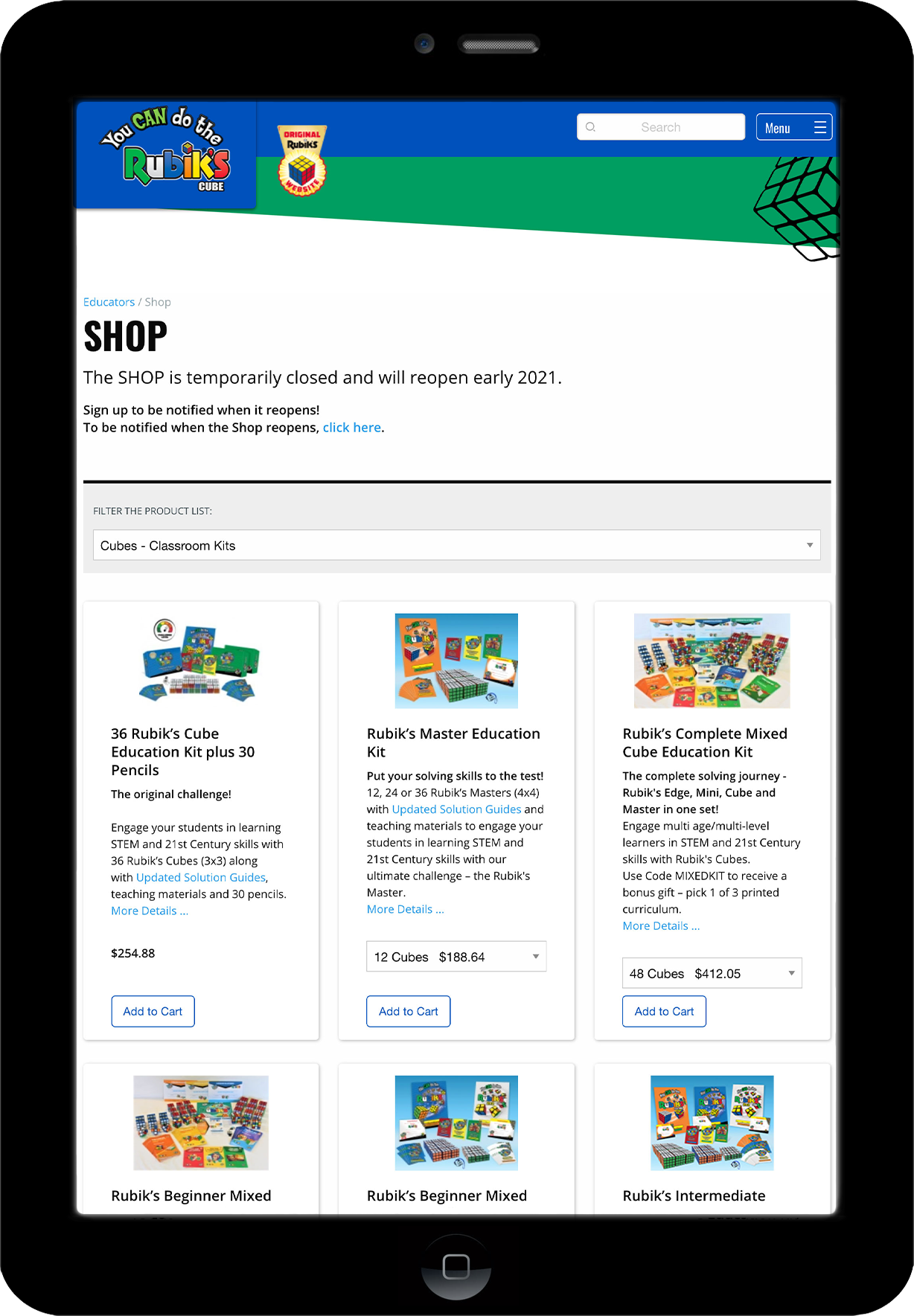 YCDTC shop page on tablet